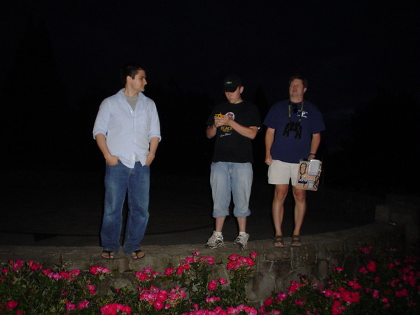 Tamarack, Caleb, and Russell on Council Crest as its getting dark, scouting out the second Field Day site.